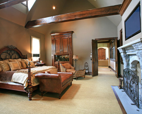 Mid Sized Elegant Master Carpeted Bedroom Photo In Little Rock With Gray  Walls, A
