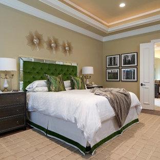 Trendy bedroom photo in Dallas with beige walls