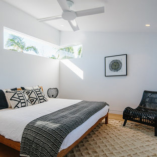 Design ideas for a contemporary bedroom in Other with white walls, medium hardwood floors and brown floor.