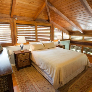 Inspiration for a tropical loft-style bedroom remodel in Brisbane