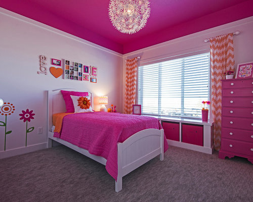 Arts and crafts pink bedroom design ideas renovations - Bedroom arts and crafts ideas ...