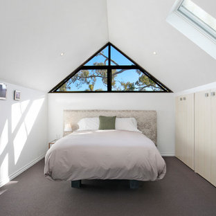 Design ideas for a transitional guest bedroom in Sydney with white walls, carpet, no fireplace and brown floor.