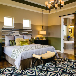 Inspiration for a contemporary dark wood floor bedroom remodel in Austin with multicolored walls