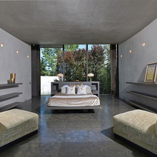 Mid-sized contemporary master bedroom in Portland with grey walls, travertine floors and brown floor.