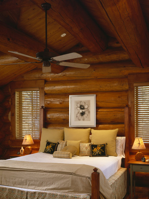 Log cabin ceiling fans home design ideas pictures for Interior designs for log homes