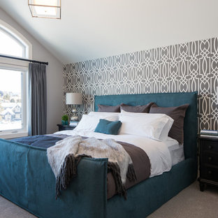Inspiration for a transitional carpeted bedroom remodel in Calgary with multicolored walls