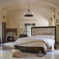 California King Panel Bed w/ Fabric Tufted Headboard, AICO -