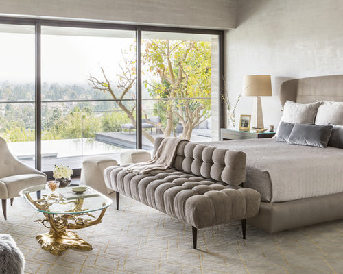 ideas bedroom design. Example of a trendy bedroom design in Los Angeles with gray walls Top 100 Contemporary Bedroom Ideas  Decoration Pictures Houzz