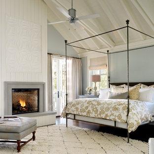 Exemple d'une chambre nature avec un mur bleu, un sol en bois foncé et une cheminée standard.
