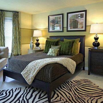 Calming green master bedroom