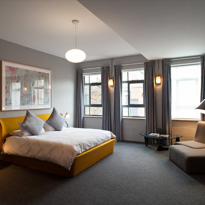 Inspiration for a mid-sized contemporary master carpeted and gray floor bedroom remodel in London with gray walls