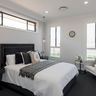 Contemporary guest bedroom in Sydney with beige walls, carpet and black floor.