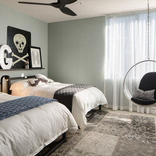 Chambre avec un mur gris et béton au sol : Photos et idées déco de ...