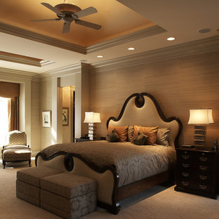 Inspiration for a timeless master carpeted bedroom remodel in Minneapolis with beige walls