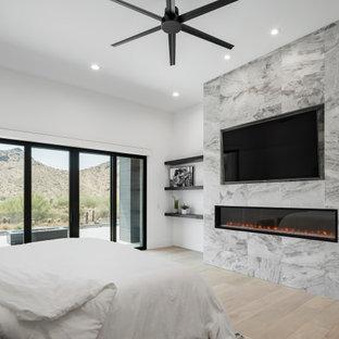 フェニックスの広いモダンスタイルのおしゃれな主寝室 (白い壁、淡色無垢フローリング、標準型暖炉、タイルの暖炉まわり、ベージュの床、折り上げ天井)