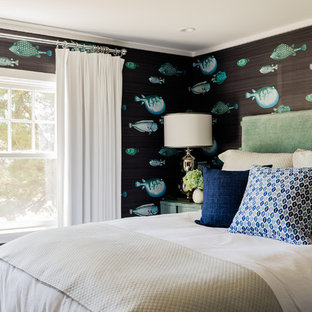 Bedroom - mid-sized coastal guest bedroom idea in Boston with blue walls