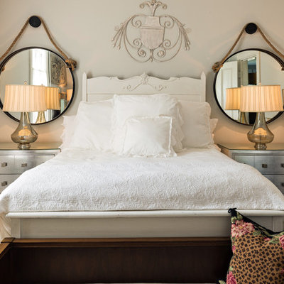 Bedroom - small shabby-chic style master dark wood floor bedroom idea in Boston with gray walls and no fireplace
