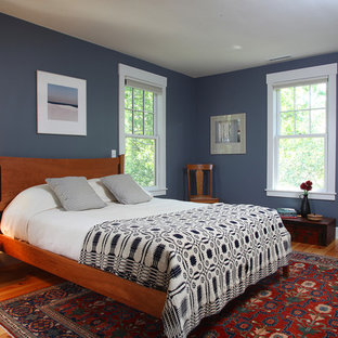Example Of A Mid Sized Clic Medium Tone Wood Floor Bedroom Design In Boston With