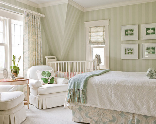 Green striped wallpaper ideas pictures remodel and decor for Striped wallpaper bedroom designs