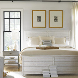 Stanley-Coastal Living - Cape Comber Panel Bed - Sail away into a peaceful night's sleep on The Cape Comber Panel Bed by Stanley Coastal Living. This comfortable bed features distinct paneling inspired by louver shutters, accentuating its charming cottage appeal. The lovely muted sail cloth finish can be mixed and matched to create a unique and sophisticated look in any bedroom. Incorporate the relaxation and comfort of a beach vacation in your master or guest bedroom and watch the stress of the day sail off into the sunset.