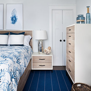 Inspiration for a mid-sized beach style master bedroom in New York with white walls, dark hardwood floors, a wood stove, a metal fireplace surround and brown floor.