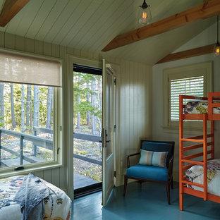 Modelo de dormitorio marinero con suelo azul