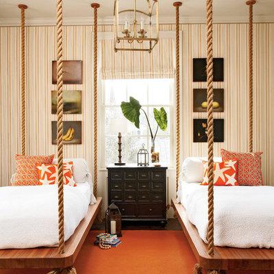 Inspiration for a coastal guest dark wood floor bedroom remodel in Atlanta with multicolored walls