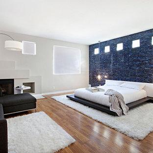 Foto di una grande camera matrimoniale design con pavimento in legno massello medio, camino classico, cornice del camino in intonaco e pareti beige