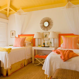 Photo of a world-inspired bedroom in Boston with white walls and yellow floors.