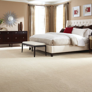 Inspiration For A Large Transitional Master Bedroom In New York With Beige Walls Carpet And