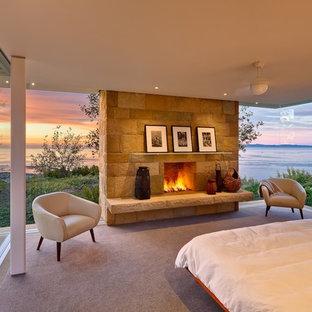 Foto di una camera da letto moderna con moquette, camino classico e cornice del camino in pietra