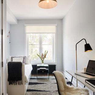 Aménagement d'une chambre d'amis contemporaine de taille moyenne avec aucune cheminée.