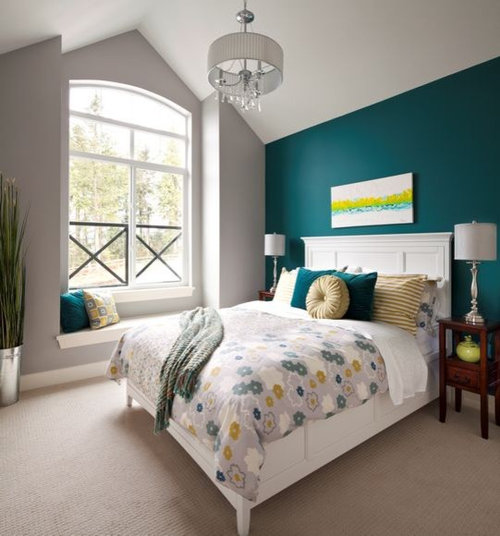 Bedroom Color Ideas With Accent Wall: Teal Grey Bedroom Ideas, Pictures, Remodel And Decor