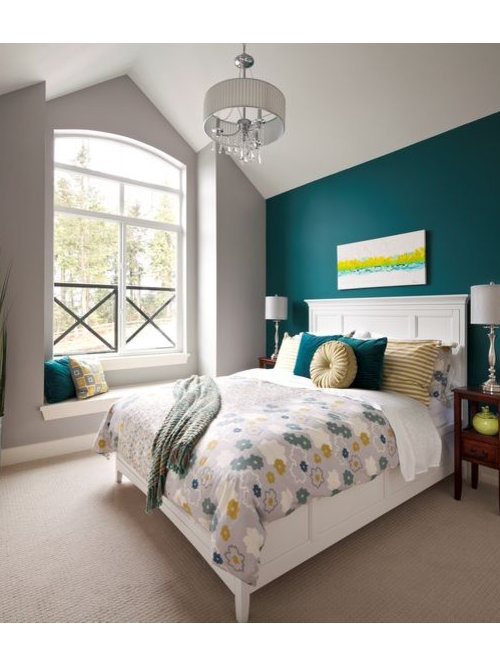 example of a minimalist bedroom design in vancouverteal gray bedroom houzz. beautiful ideas. Home Design Ideas