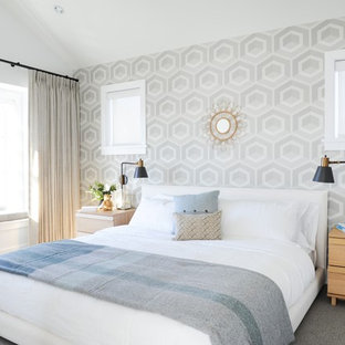 Inspiration for a transitional carpeted and gray floor bedroom remodel in Vancouver with gray walls