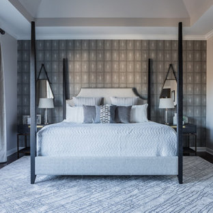 Mid-sized modern master bedroom in Raleigh with grey walls, dark hardwood floors, brown floor and coffered.
