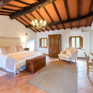 Diseño de dormitorio principal, mediterráneo, de tamaño medio, con paredes blancas, suelo de baldosas de terracota y suelo naranja