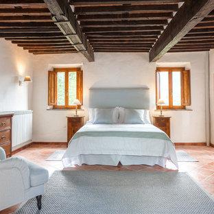 Esempio di una camera matrimoniale mediterranea di medie dimensioni con pareti bianche, pavimento in terracotta e pavimento arancione