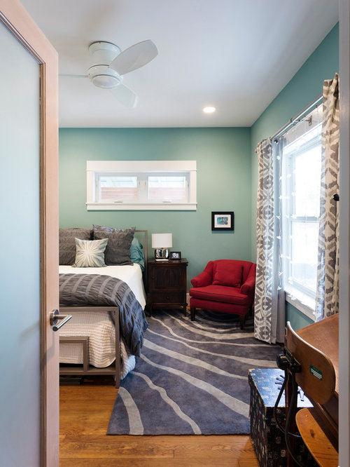 Inspiration For A Small Contemporary Guest Medium Tone Wood Floor Bedroom  Remodel In Austin With Blue