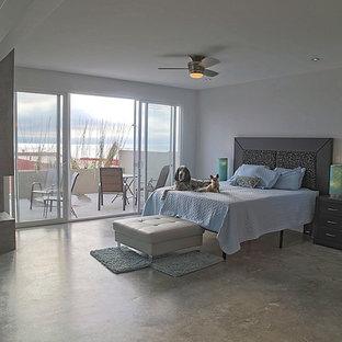 Ejemplo de dormitorio tipo loft, contemporáneo, con paredes grises, suelo de cemento, chimenea de doble cara y marco de chimenea de hormigón