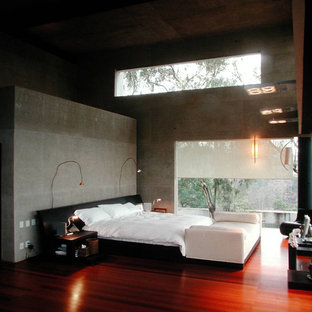 Example of a trendy red floor bedroom design in Mexico City