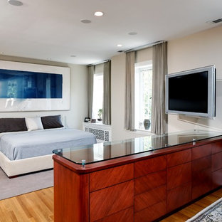 Inspiration for a contemporary light wood floor bedroom remodel in DC Metro with gray walls