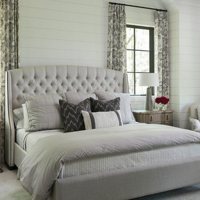Transitional master carpeted and gray floor bedroom photo in Tampa with white walls