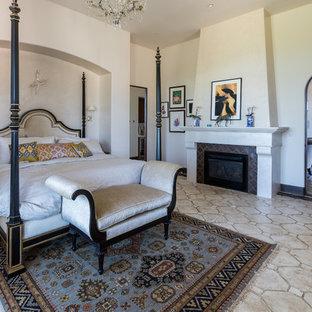 Inspiration For A Mediterranean Master Beige Floor Bedroom Remodel In San Luis Obispo With Walls
