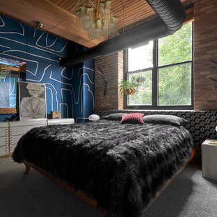 Inspiration for an eclectic carpeted and gray floor bedroom remodel in Chicago with blue walls