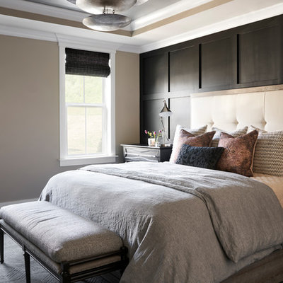Inspiration for a large transitional master carpeted and gray floor bedroom remodel in Nashville with beige walls and no fireplace