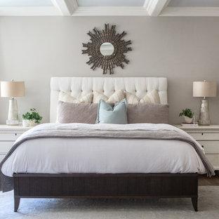 Bedroom Large Traditional Dark Wood Floor Idea In Los Angeles With Gray Walls