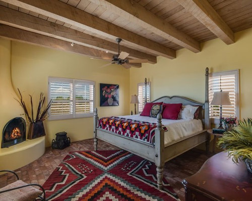 Southwestern Yellow And Gray Bedroom Design Ideas Remodels Photos Houzz