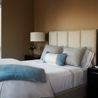 Bedroom - mid-sized transitional master bedroom idea in Chicago with brown walls and no fireplace