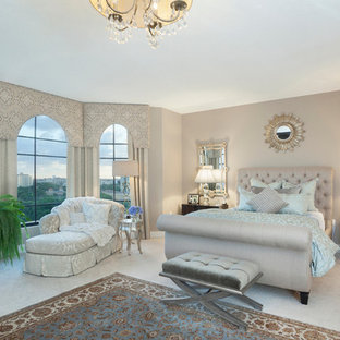 Bedroom   Transitional Carpeted Bedroom Idea In Miami With Gray Walls